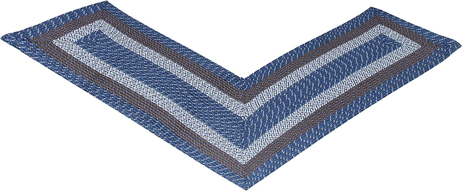 "Better Trends Country Braid Collection is Durable and Stain Resistant Reversible Indoor Area Utility Rug 100% Polypropylene in Vibrant Colors, 24"" x 68"" x 68"" L-Shape, Chambray Stripe"