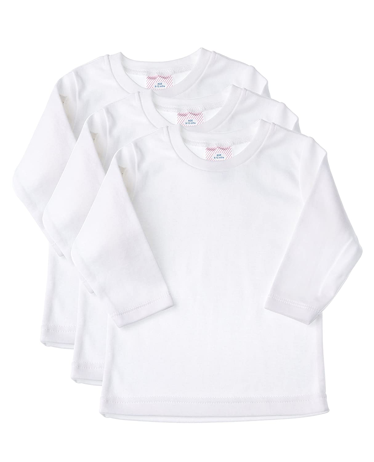 Baby Jay Long Sleeved Undershirt 3 Pack - White Unisex Baby and Toddler Soft Cotton Tee - Boys and Girls T Shirt WTLR-3PK