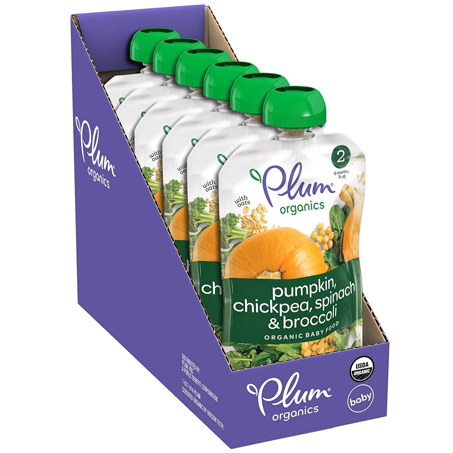 Plum Organics Stage 2 Organic Baby Food, Pumpkin, Spinach, Chickpea & Broccoli, 3.5 Ounce Pouch (Pack of 6)