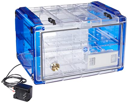 Bel-Art Secador Clear 4.0 Horizontal Auto-Desiccator Cabinet with Blue End-Caps; 120V, 1.9 cu. ft. (F42074-0116): Science Lab Desiccator Accessories: ...