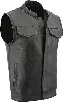 Milwaukee Leather SOA Mens Club Bike Vest w// 2 Gun Pockets Snap /& Zipper LKM3710