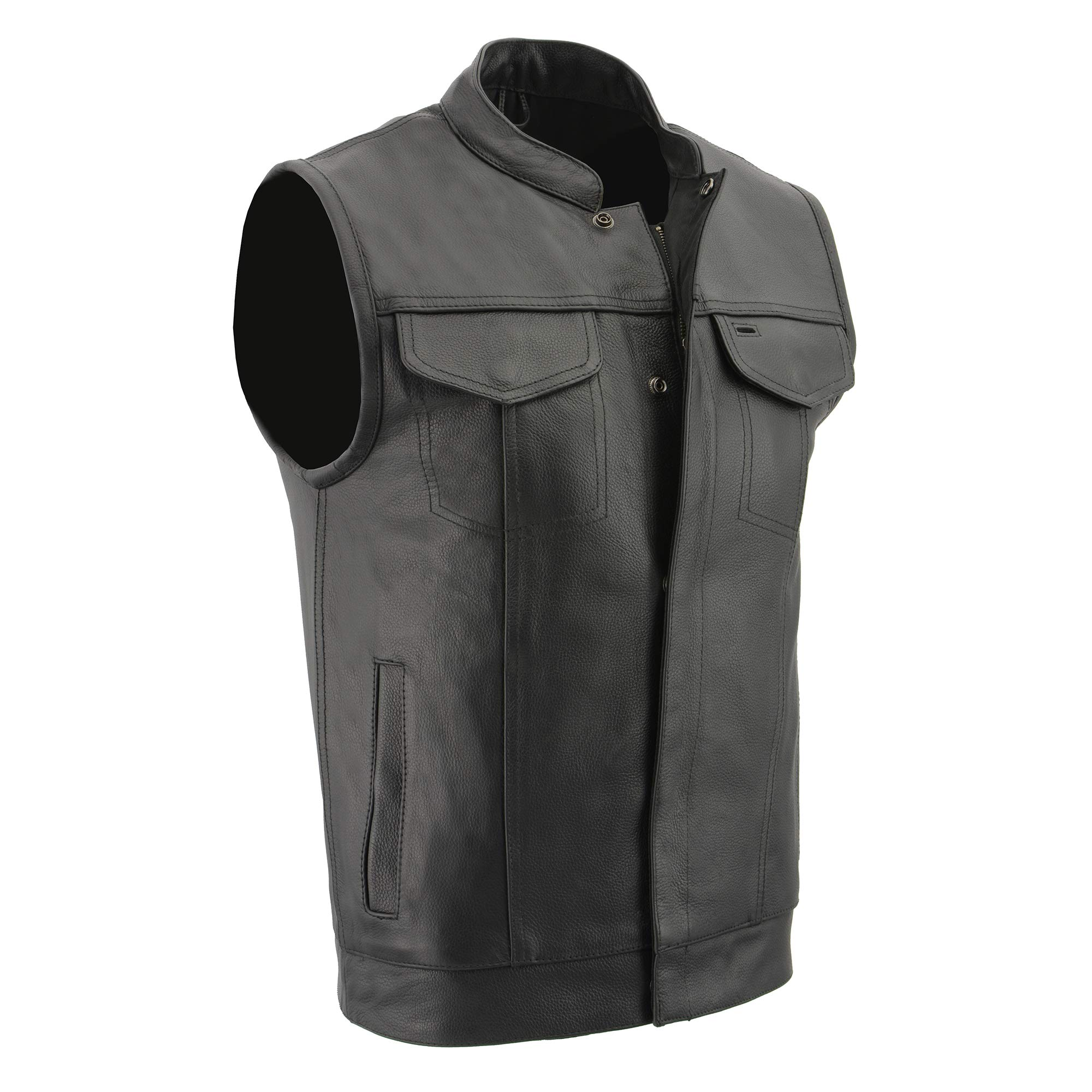Milwaukee Leather Men's Open Neck Snap/Zip Front Club Style Vest with External Gun Pocket (Black, Large)