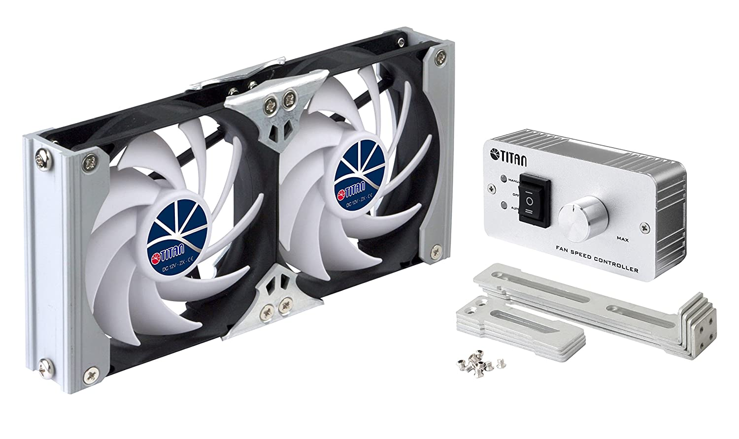 Titan- 12V/ 24V DC 90mm Multi-Function Rack Mounted Double Refrigerator Side Vent Fan with Speed Controller for RV, Motorhome, Caravan- TTC-SC09TZ(A)