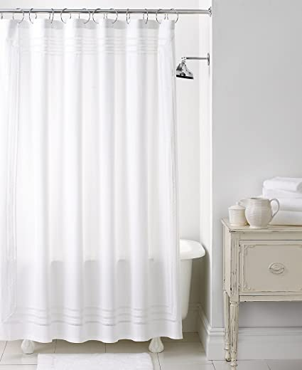 Image Unavailable Not Available For Color Martha Stewart Collection Trousseau Cotton Lace Shower Curtain White