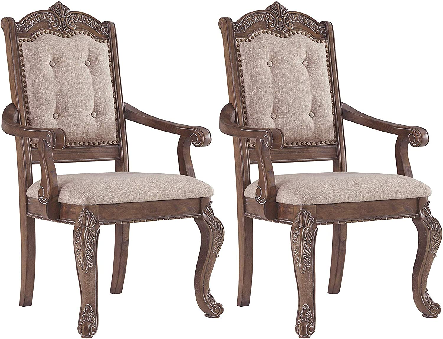 Signature Design By Ashley - Charmond Dining Upholstered Arm Chair - Set of 2 - Traditional Style - Brown
