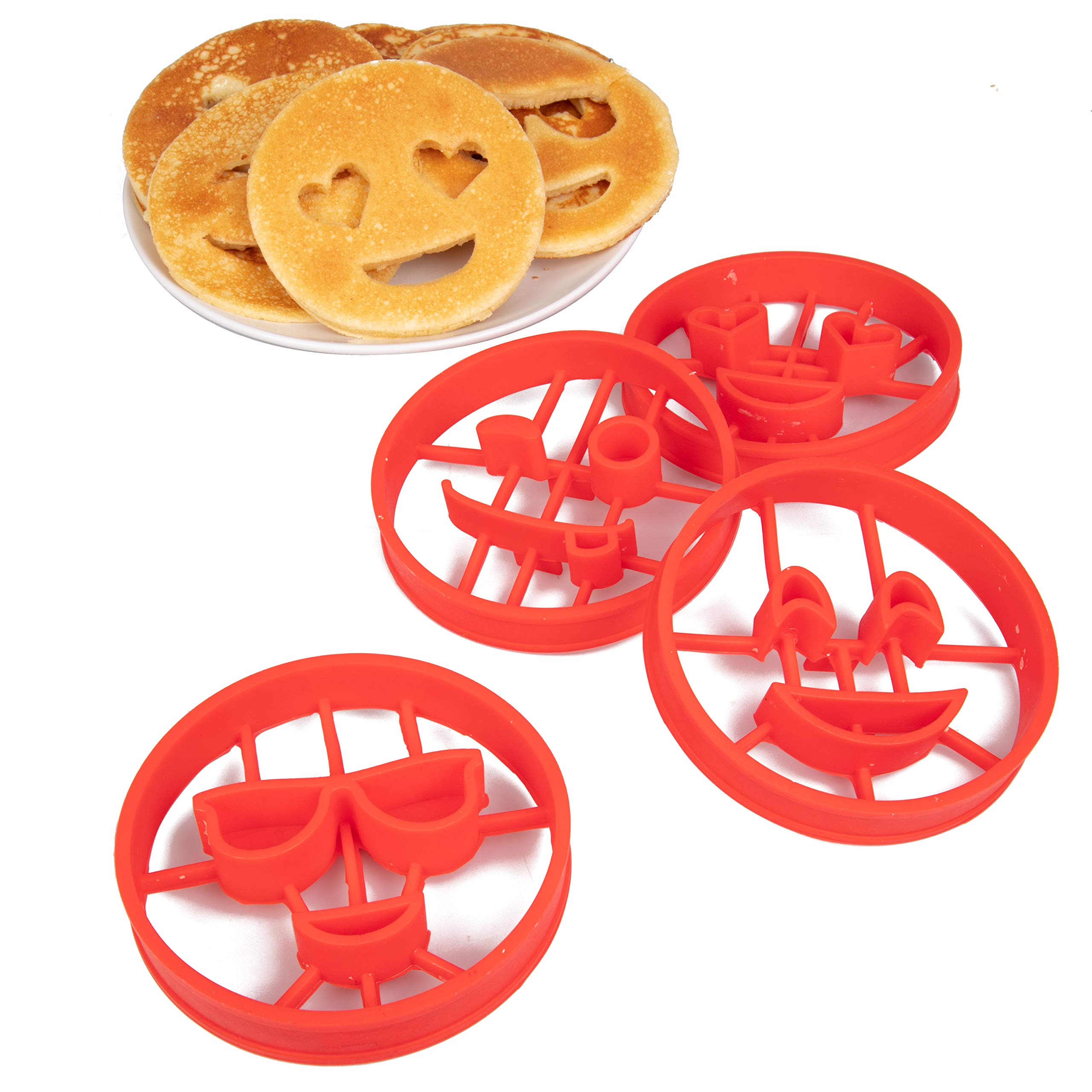 Emoji Pancake Molds and Egg Rings (4 Pack) for Kids AND Adults - Reusable Silicone Smiley Face Maker Doubles as Cookie Maker Set- FDA Approved, BPA Free, Food Safe, Heat Resistant Silicone by Good Cooking (Image #6)
