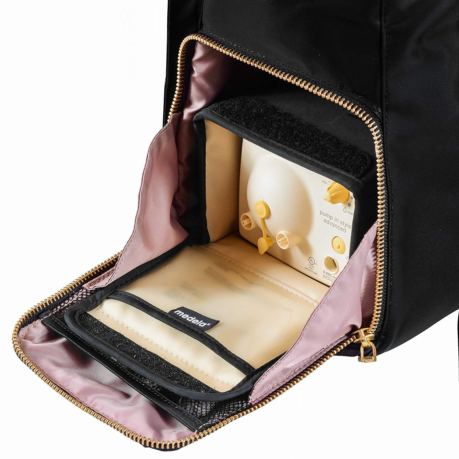 The New Yorker Breast Pump Bag by Charlie G, Black/Gold (Large) by Charlie G Bags (Image #6)