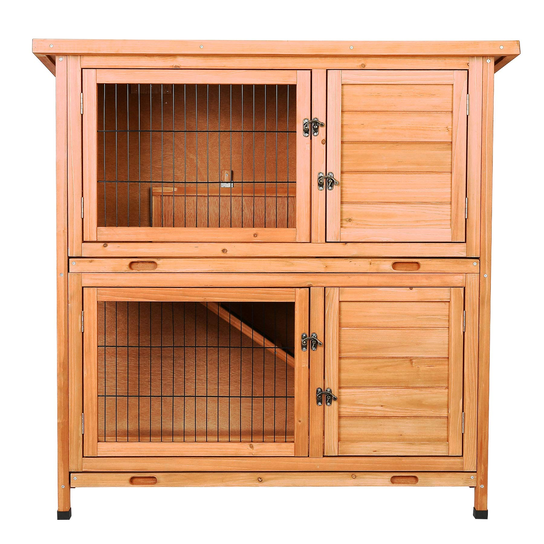 CO-Z 2 Story Outdoor Wooden Bunny Cage Rabbit Hutch Guinea Pig House in Nature Color with Ladder for Small Animals by CO-Z