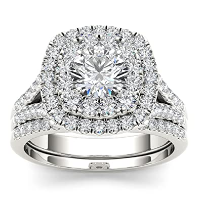 5ae9d09f300 IGI Certified 14k White Gold 2ct TDW Round Cut Diamond Double Halo  Engagement Ring Set (