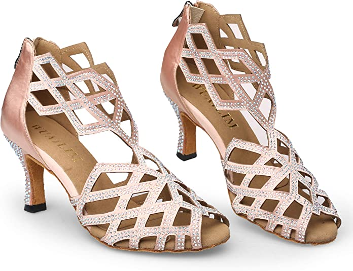 WUAILIM Fashion Women Rhinestone Dance Shoes Latin Salsa Bachata Practice Performance Dancer Wedding Dancing Footwear Beige Size