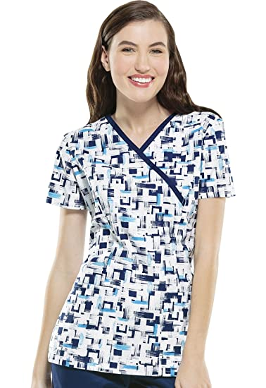 19263c9b8544e1 Amazon.com: Cherokee Women's Mock Wrap Abstract Print Scrub Top Large Print:  Clothing