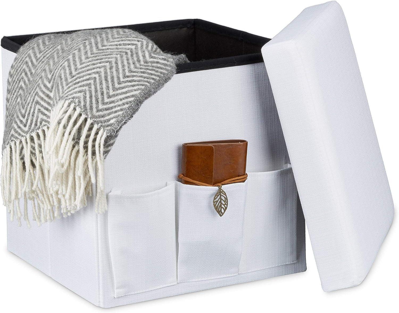 Pieghevole Bianco Relaxdays 10020366/_49 Pouf//Poggiapiedi/ 3 Tasche Laterali 39 X 39 X 39 cm con Rivestimento in Lino