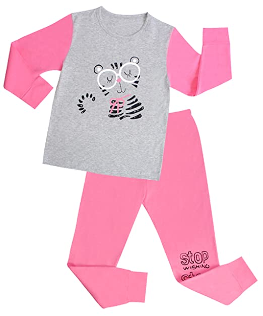 """blcswan niña """"gato dormido 2 piezas Conjunto de pijama 100% algodón (12"""