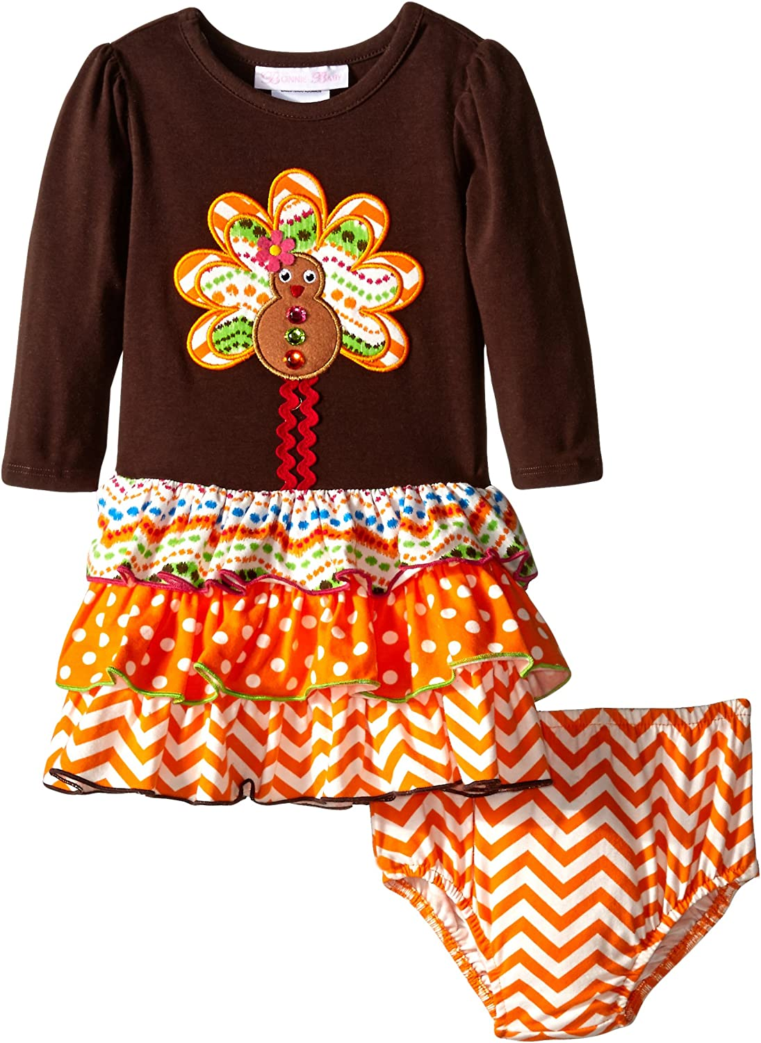 Bonnie Baby Girls Gingerbread Turkey Applique Dress with Multi Tiered Skirt