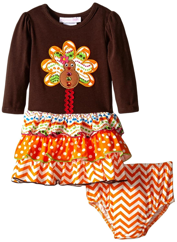Bonnie Baby Girls ' Gingerbread Turkeyアップリケドレスwithマルチ階層型スカート 24 Months ブラウン B010UMY99A
