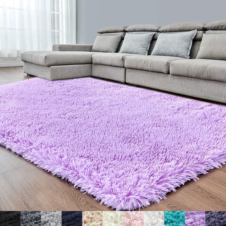 Purple Soft Area Rug for Bedroom,4x6,Fluffy Rugs,Lavender Rug,Furry Rugs for Girls Baby Room,Plush Rug for Kids Room,Shaggy Rug for Nursery Dorm,Anti-Slip Rug,Purple Carpet,Home Decor