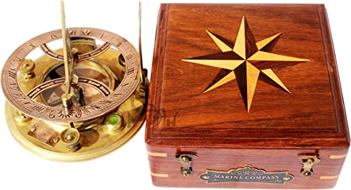 MAH Top Grade 5 Inch Perfectly Calibrated Large Sundial Compass with Wooden Box. C-3050