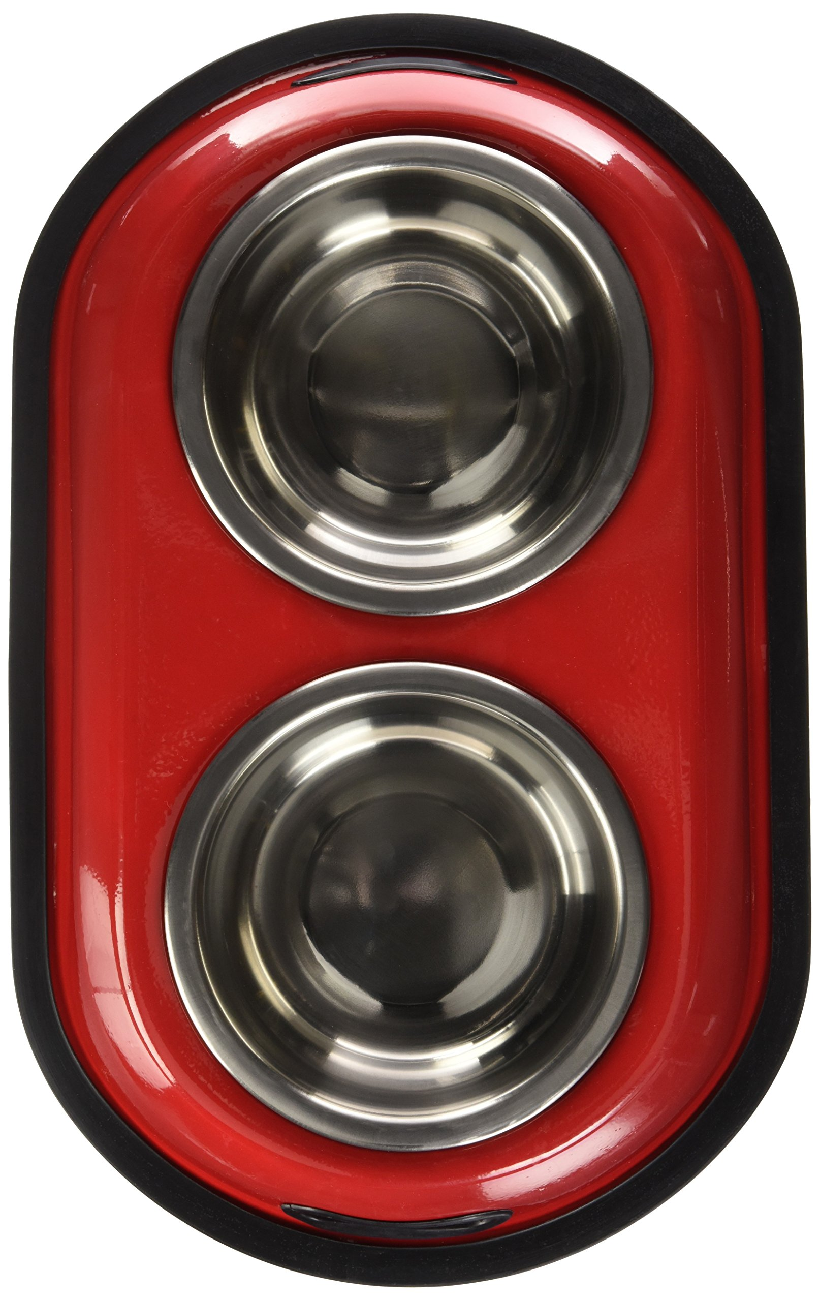 Iconic Pet 2 Cup Color Splash Stainless Steel Double Diner for Dog/Cat (2 Pack), Red, 16 oz