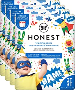 The Honest Company Toddler Training Pants   Super Heroes   2T/3T   104 Count   Eco-Friendly   Underwear-Like Fit   Stretchy Waistband & Tearaway Sides   Perfect for Potty Training