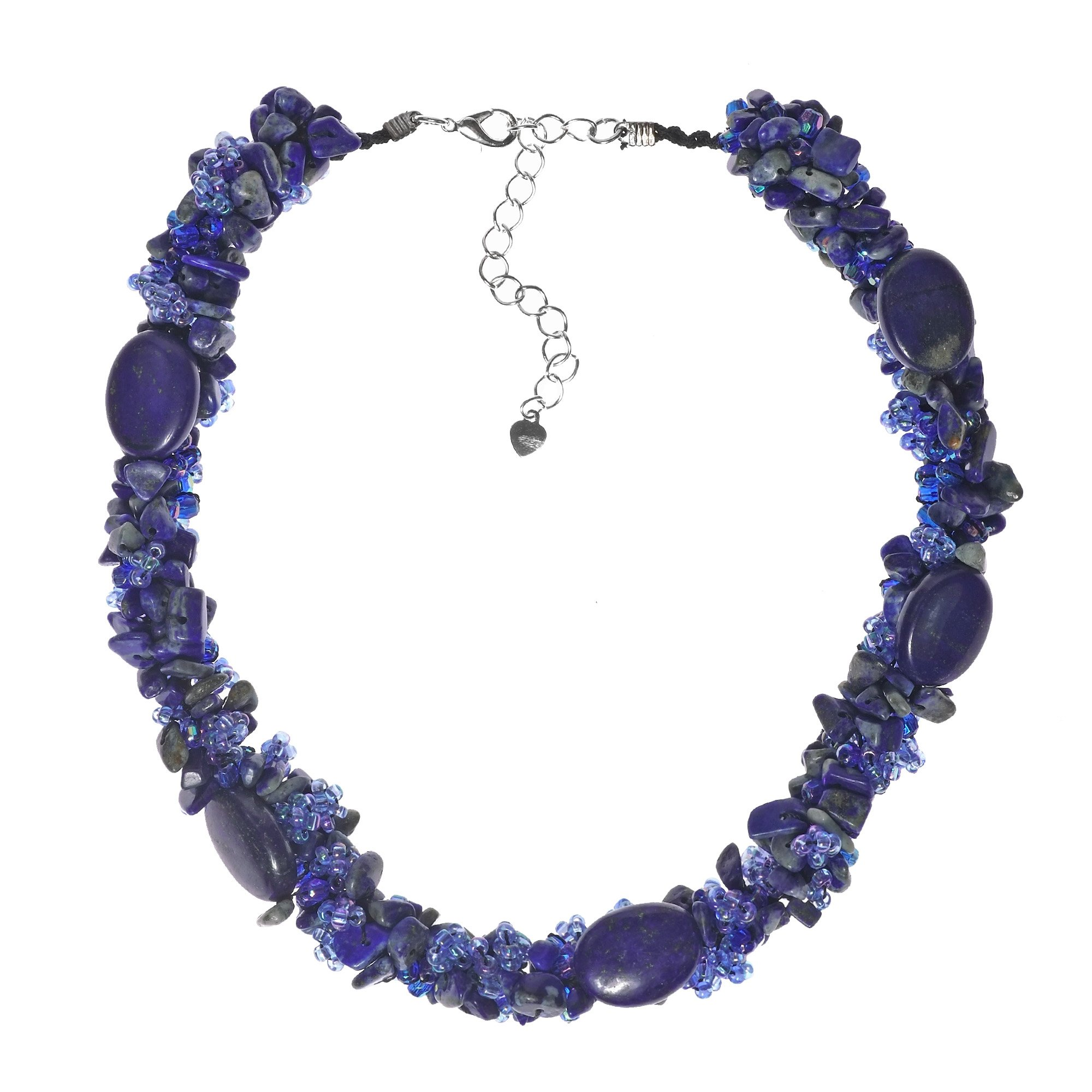 AeraVida Navy Oval Reconstructed Blue Lapis-Lazuli with Seed Beads Clustered Chunky Strand Necklace
