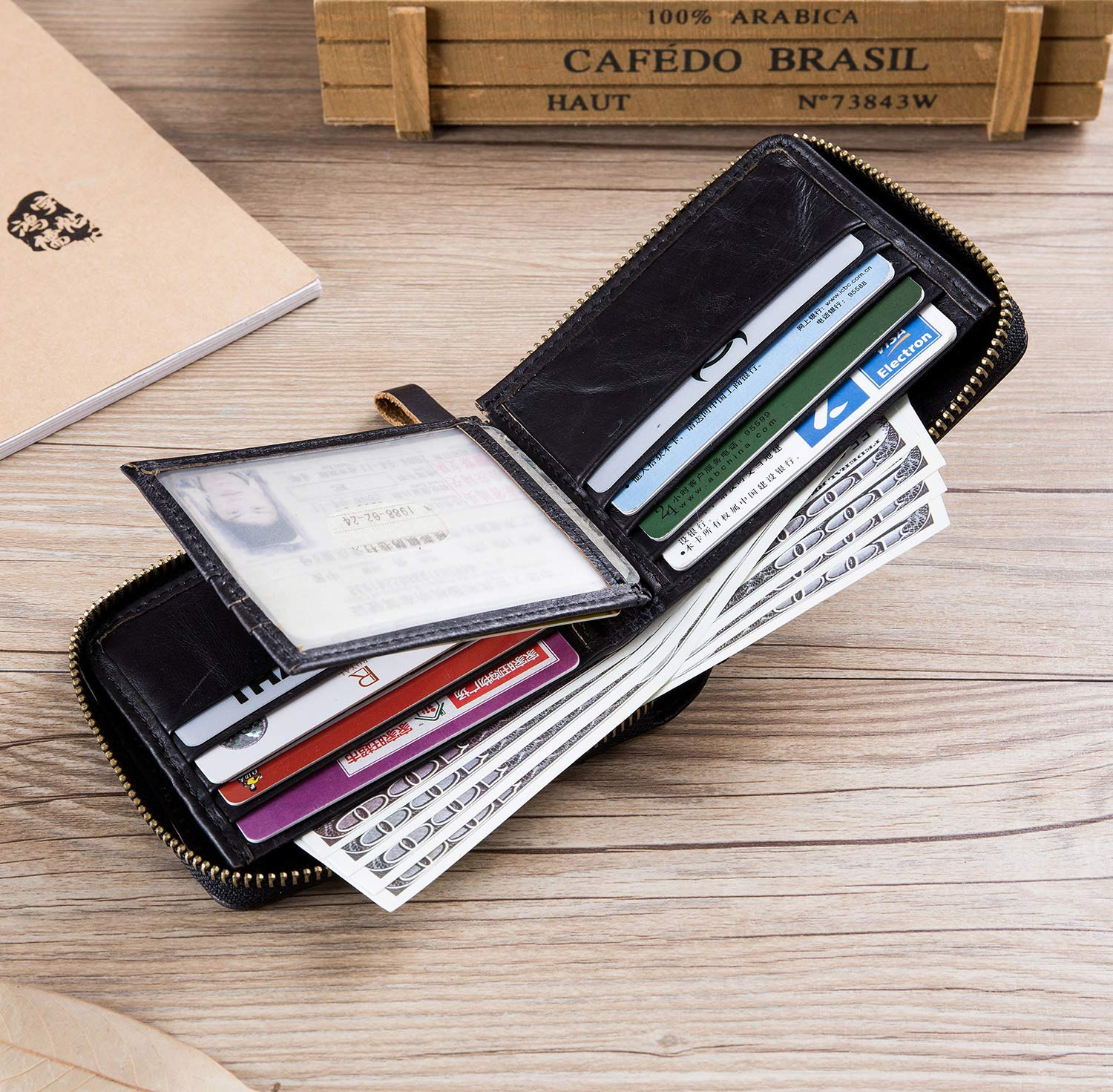 Men/'s Leather Wallet,RFID Blocking Secure Zip Around Wallet ID Window Bifold Multi Card Holder Purse,Black