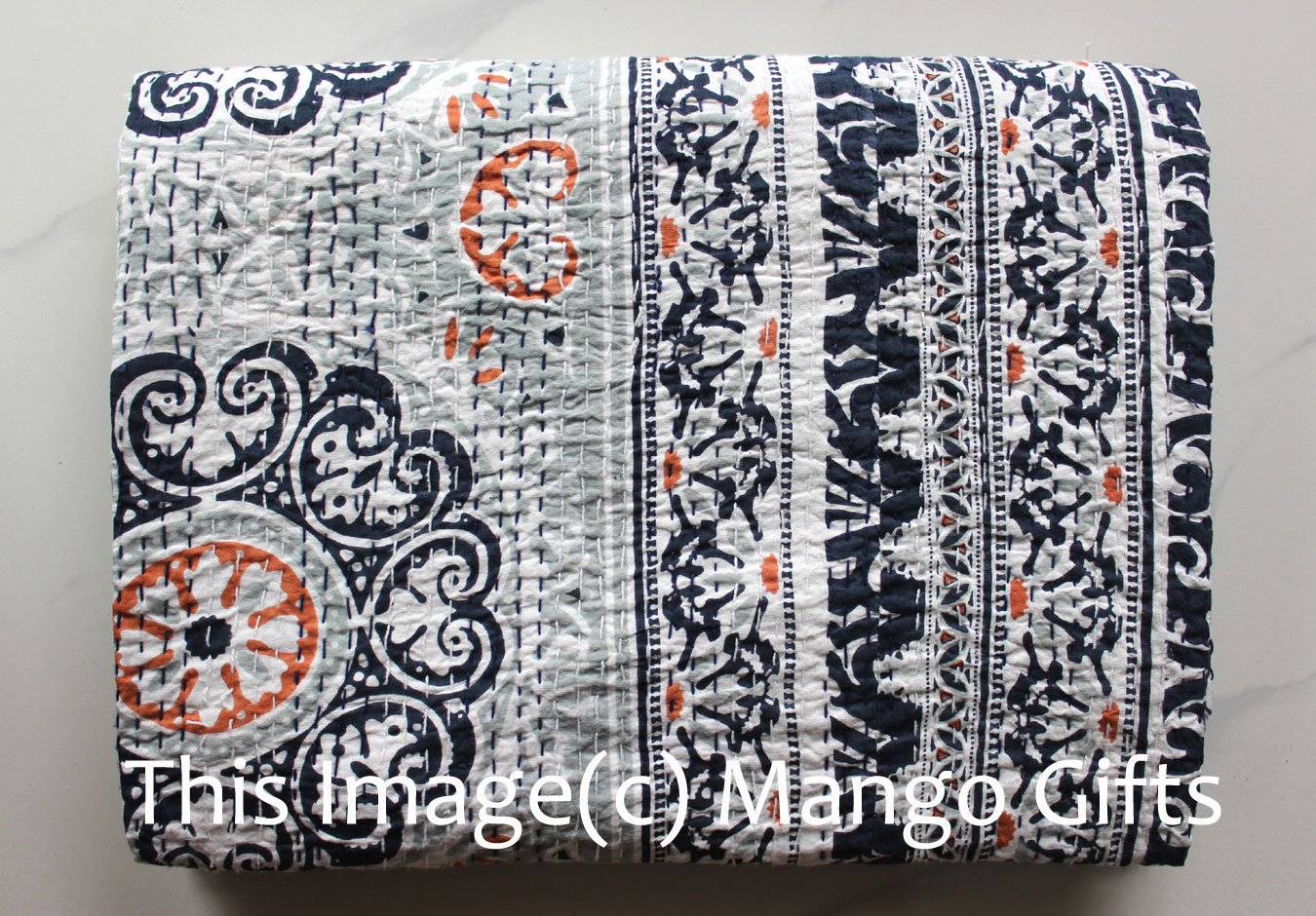 Mango Gifts Pure Cotton Kantha Style Twin Size Quilt Bed Spread, Indian Gudri Bed Cover 60'' X 90'' Inches Approx