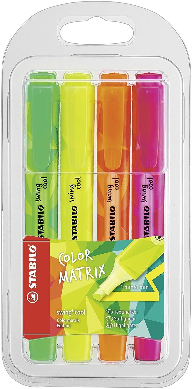 Stabilo Swing Cool Evidenziatore Edizione Colormatrix - Astuccio da 4 - Colori Assortiti 275/4-07