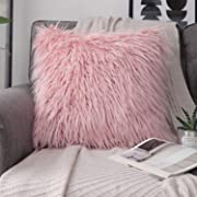 Phantoscope Decorative New Luxury Series Merino Style Pink Faux Fur Throw Pillow Case Cushion Cover 18 x 18 inches 45cm x 45cm