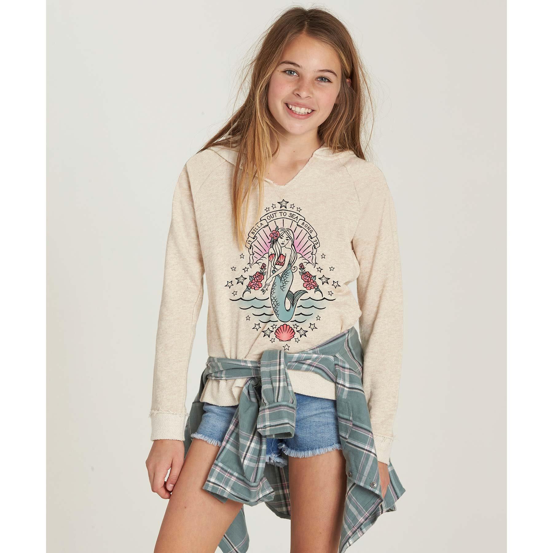 Billabong Big Girls' Surf Tribe Sweatshirt, Oatmeal Heather, XS