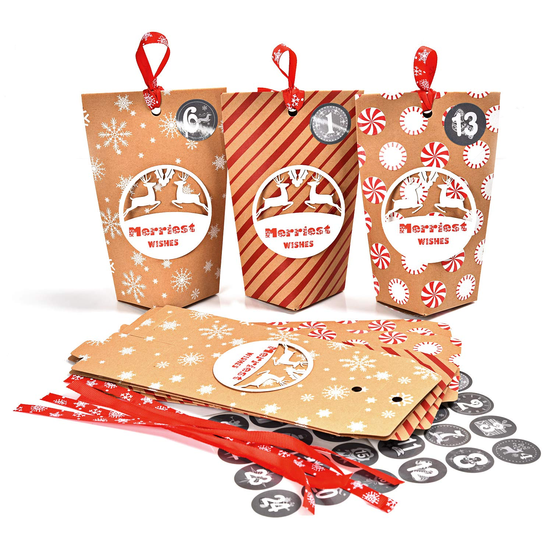 Sacs en Papier Kraft /à Remplir pour Bapt/ême de F/ête d/'Anniversaire de Mariage Cadeaux de No/ël Ulikey 24 Calendrier de lAvent 24 Sacs en Papier avec Autocollants