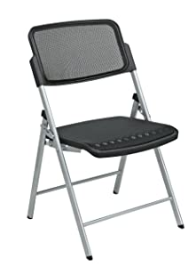 Office Star Deluxe Breathable ProGrid Seat and Back Folding Chair, 2-Pack, Silver Finish Frame, Black Seat