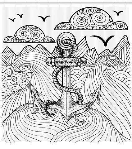 Anchor cortina de ducha por Ambesonne, Zentangle estilo océano y nubes dibujado a mano artística