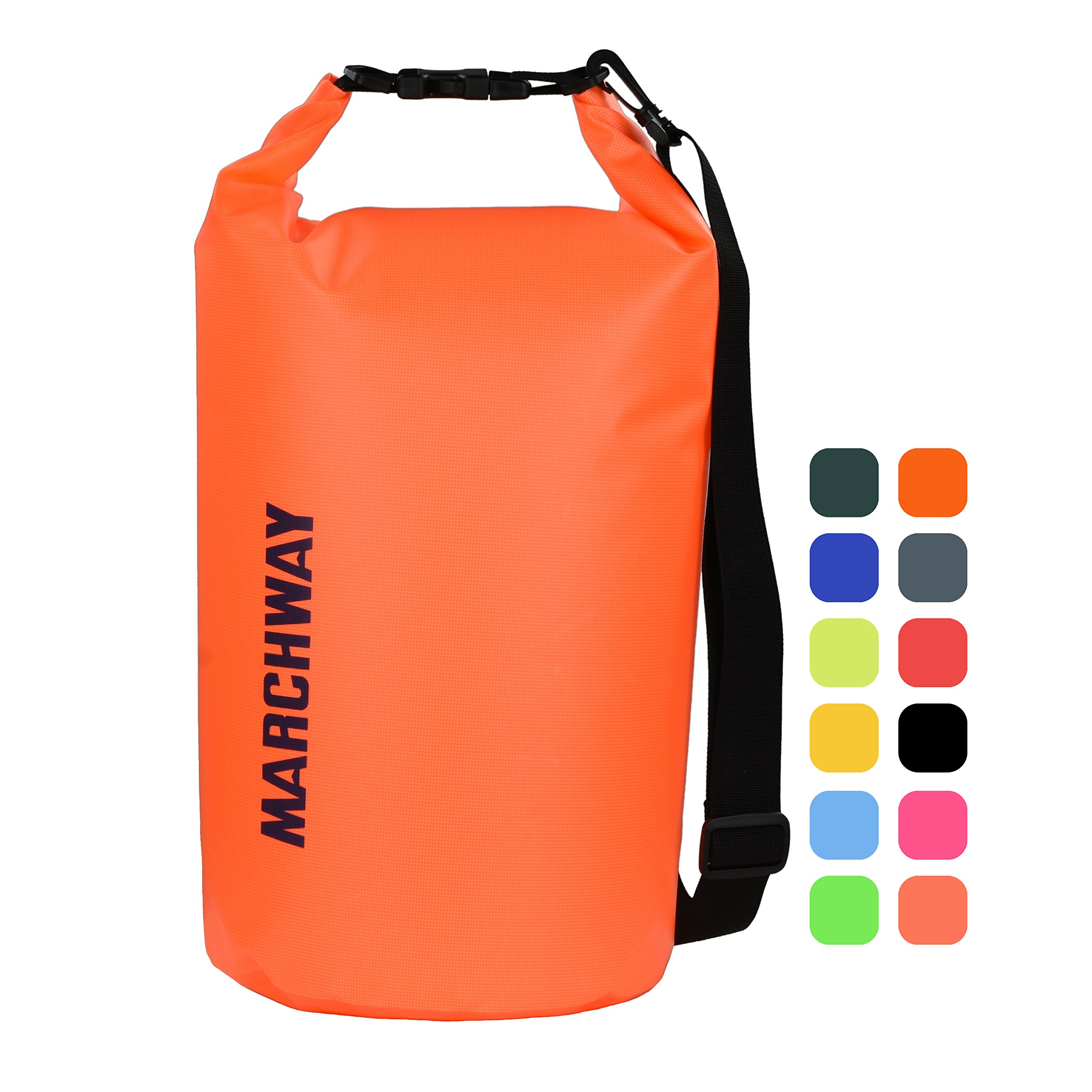 MARCHWAY Floating Waterproof Dry Bag 5L/10L/20L/30L/40L, Roll Top Sack Keeps Gear Dry for Kayaking, Rafting, Boating, Swimming, Camping, Hiking, Beach, Fishing (Orange, 40L) by MARCHWAY