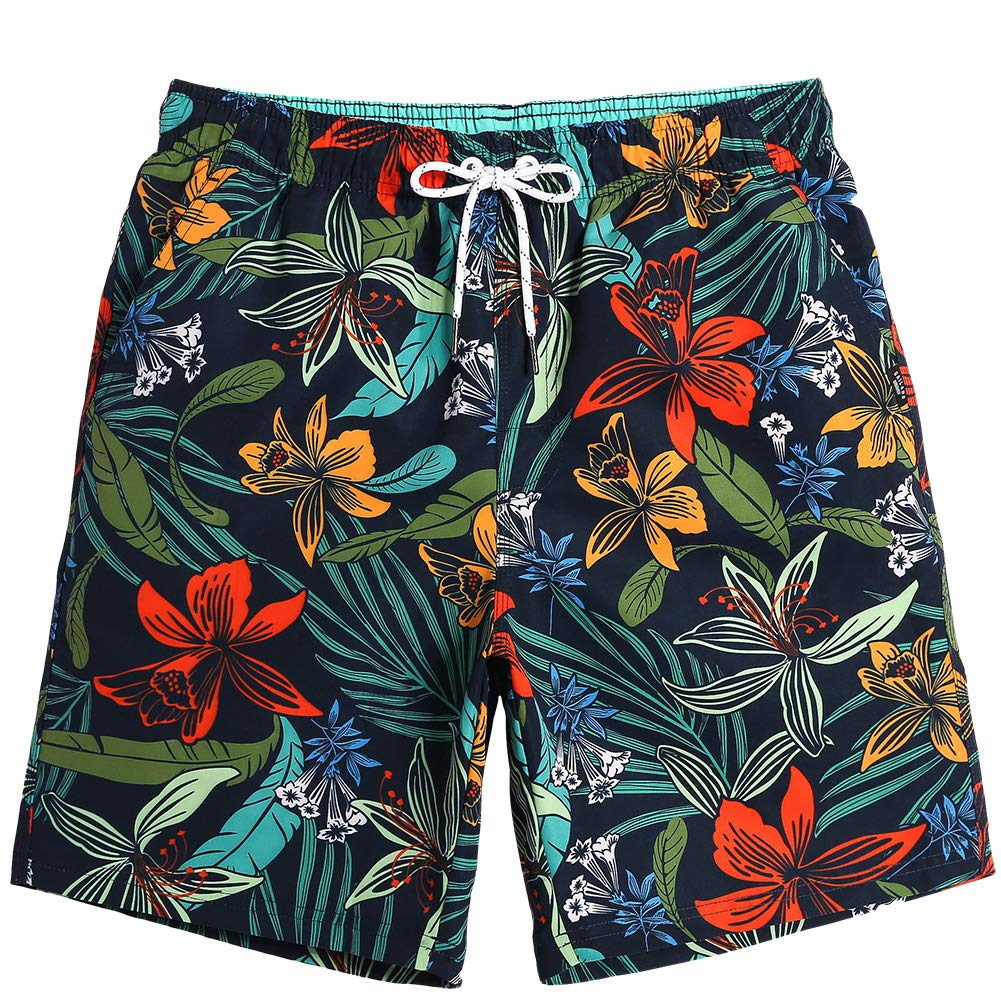 a777190fb1 MaaMgic Mens Quick Dry Printed Short Swim Trunks with Mesh Lining Swimwear  Bathing Suits | Amazon.com