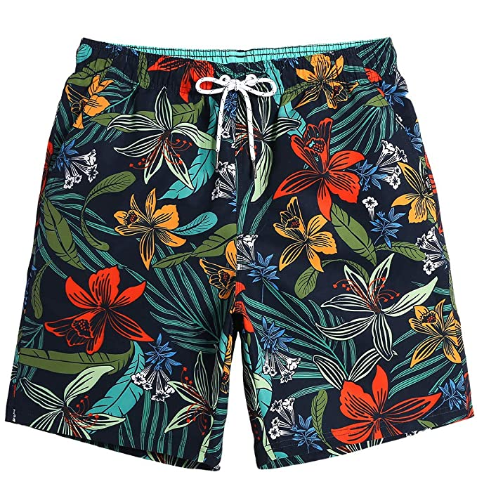 da12273c58 MaaMgic Mens Quick Dry Printed Short Swim Trunks with Mesh Lining Swimwear  Bathing Suits