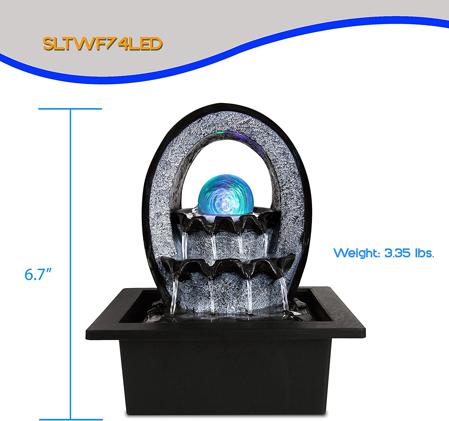 Electric Tabletop Water Fountain Decoration - 2-Tier Indoor Outdoor Portable Desktop Decorative Waterfall Kit w/LED Illuminated Crystal Ball Accent, Include Submersible Pump, 12V Adapter - SereneLife