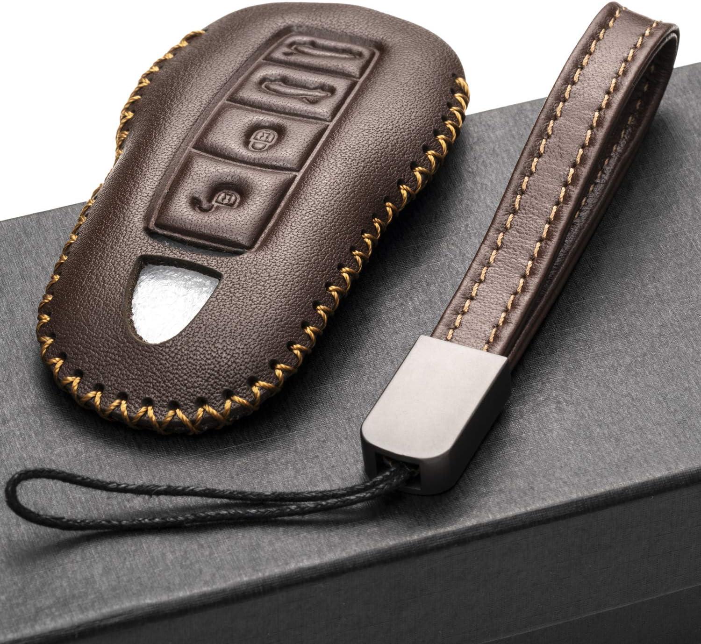 Porsche Panamera 3-Button, Black Porsche Cayenne Porsche 911 Vitodeco Genuine Leather Smart Key Fob Remote Case with Leather Key Chain for Porsche 718