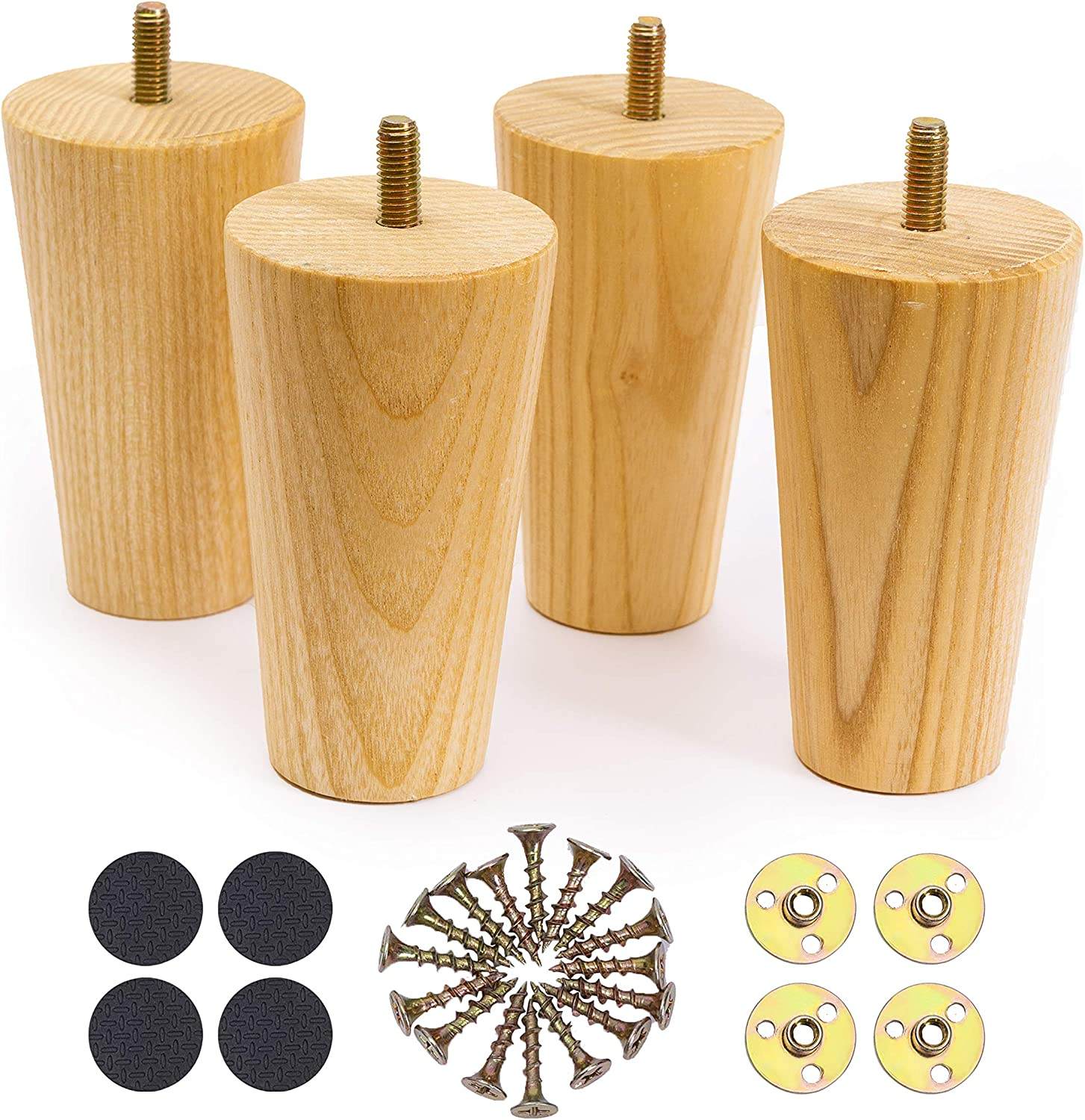 WOODINNO Furniture Leg 4 Inch Replacement for Mid Century Table Dresser, Desk, Couch, Chair Cabinet Sofa Round feet Cabinet- Unfinished