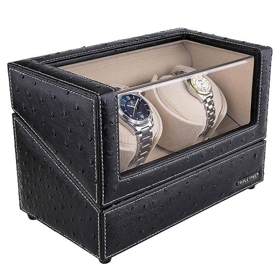Doble Reloj devanadera -Estuche bobinadora para 2 Relojes, en Concha de Madera y Cuero