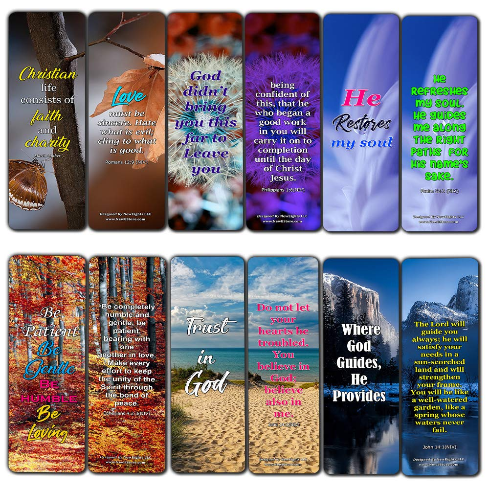 Inspirational Quotes About Christian Life Bookmarks 60 Pack Perfect Gift Away for Sunday School and Ministries