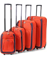 "5 Cities/Frenzy Travel Luggage Suitcase Sets, Includes Cabin Trolley Bags for Ryanair and Easyjet (Fits 50x40x20, 56 x 45 x 25cm) Medium, Large & XL Suitcases. 4-piece (18, 21, 26, 29"") & 5-piece (18, 21, 26, 29, 32"") (Set of 4 18""/21""/26""/29"", Orange 625)"