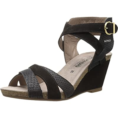 Mephisto Women's Jorine Black Bucksoft/Mamba Wedge | Sandals