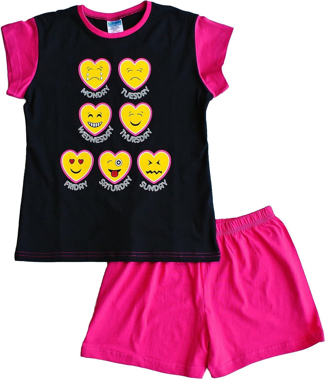 Teenage Girls Short Pyjamas Emoji Style Pjs 11 to 16 Years Black