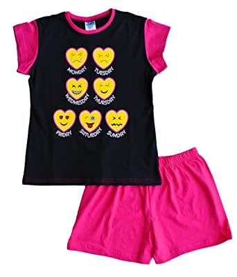 Girls Short Pyjamas EMOJI Style Pjs 9 to 14 Years Black Pink (10)