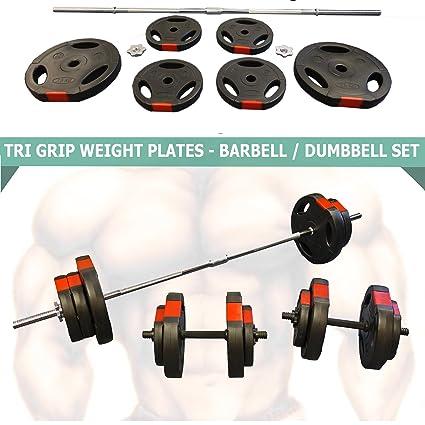 Juego de mancuernas 60kg, pesas de triple agarre para entrenamiento, collarines Spinlock