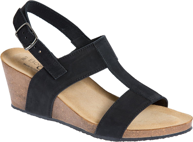 Bos. & Co.. Women's Lust Italian Leather T-Strap Wedge Sandals B07C291T4Z EU39|Black