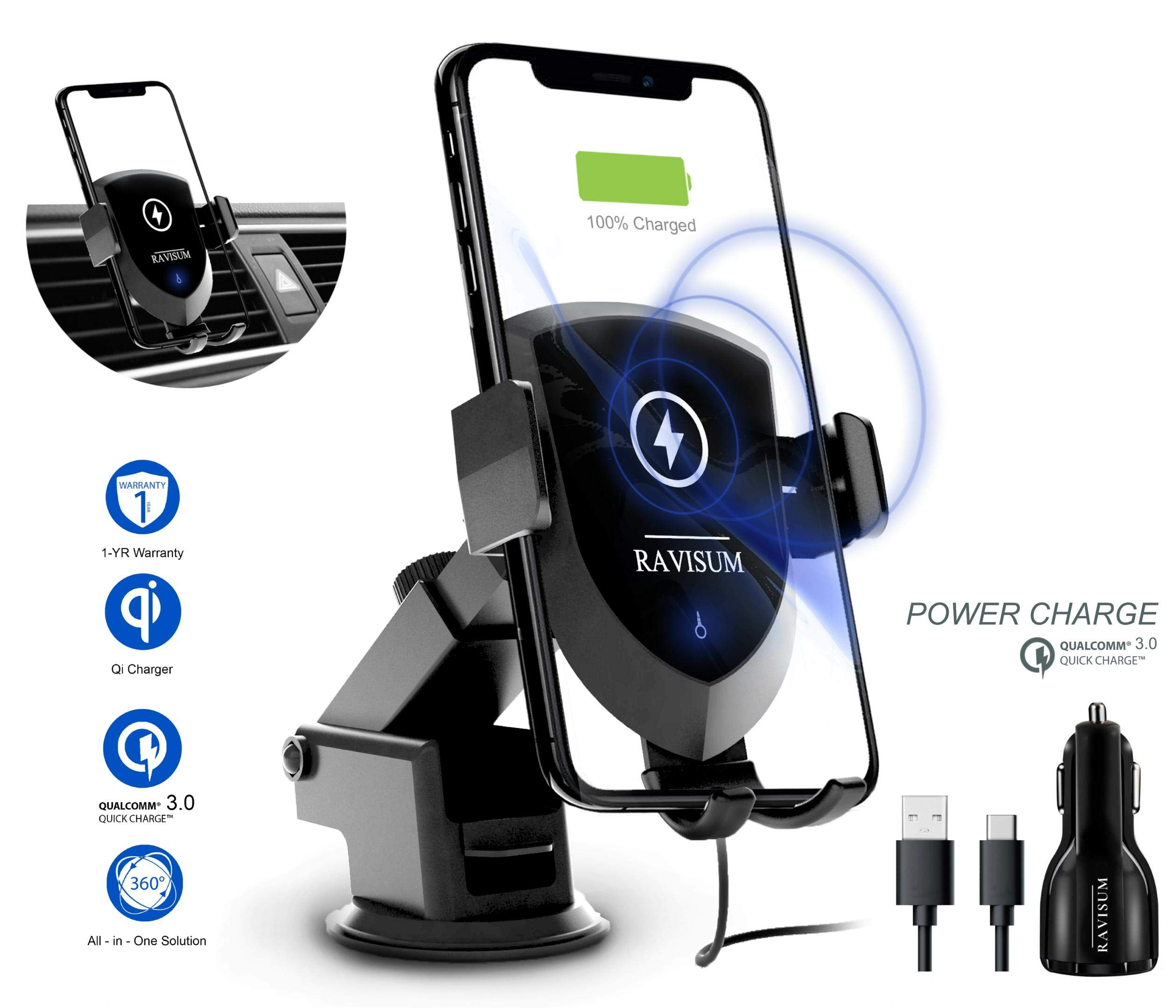 Wireless Car Charger Mount by RAVISUM | 10W 7.5W Fast Charge Car Phone Mount with Dual-USB Car Charger | Windshield & Air Vent Car Mount | Compatible with iPhone X/XS/MAX/8/8+ Samsung S8/S9/S10 Series by RAVISUM