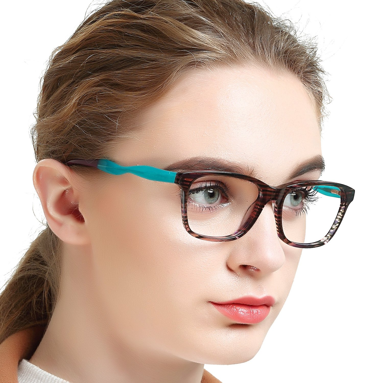 OCCI CHIARI Womens Rectangle Stylish Eyewear Frame Non-Prescription Clear Eyeglasses 53) BRONZI C2