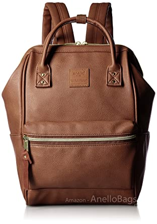 aec64470d1a0 Japan Anello Backpack Unisex BROWN MINI SMALL PU LEATHER Rucksack School Bag  Campus