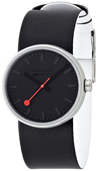 Mondaine SBB Quartz Stainless Steel And Leather Casual Watch ColorBlack